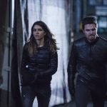 """Arrow -- """"Bratva"""" -- Image AR512b_0067b.jpg -- Pictured (L-R): Juliana Harkavy as Tina Boland and Stephen Amell as Oliver Queen/The Green Arrow -- Photo: Cate Cameron/The CW -- © 2017 The CW Network, LLC. All Rights Reserved."""