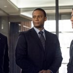 """Arrow -- """"Bratva"""" -- Image AR512a_0184b.jpg -- Pictured (L-R): Stephen Amell as Oliver Queen, David Ramsey as John Diggle, and Josh Segarra as Adrian Chase -- Photo: Cate Cameron/The CW -- © 2017 The CW Network, LLC. All Rights Reserved."""