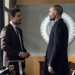 """Arrow -- """"Bratva"""" -- Image AR512a_0016b.jpg -- Pictured (L-R): Stephen Amell as Oliver Queen and Paul Blackthorne as Quentin Lance -- Photo: Cate Cameron/The CW -- © 2017 The CW Network, LLC. All Rights Reserved."""