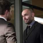 """Arrow -- """"Bratva"""" -- Image AR512a_0079b.jpg -- Pictured (L-R): Stephen Amell as Oliver Queen and Paul Blackthorne as Quentin Lance -- Photo: Cate Cameron/The CW -- © 2017 The CW Network, LLC. All Rights Reserved."""