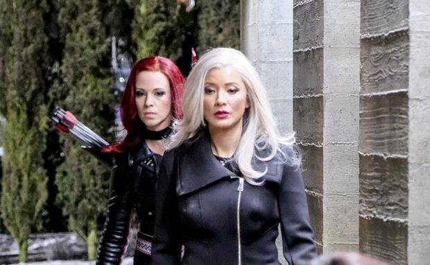 "Arrow -- ""The Sin-Eater"" -- Image AR514b_0023b.jpg -- Pictured (L-R): Amy Gumenick as Carrie Cutter/Cupid, Kelly Hu as China White and Rutina Wesley as Liza Warner -- Photo: Robert Falconer/The CW -- © 2017 The CW Network, LLC. All Rights Reserved."