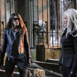 """Arrow -- """"The Sin-Eater"""" -- Image AR514b_0152b.jpg -- Pictured (L-R): Juliana Harkavy as Tina Boland/Dinah and Kelly Hu as China White -- Photo: Robert Falconer/The CW -- © 2017 The CW Network, LLC. All Rights Reserved."""