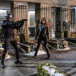 """Arrow -- """"The Sin-Eater"""" -- Image AR514b_0145b.jpg -- Pictured (L-R): David Ramsey as John Diggle/Spartan, Juliana Harkavy as Tina Boland/Dinah, and Kelly Hu as China White -- Photo: Robert Falconer/The CW -- © 2017 The CW Network, LLC. All Rights Reserved."""