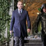 """Arrow -- """"The Sin-Eater"""" -- Image AR514b_0271b.jpg -- Pictured (L-R): Paul Blackthorne as Quentin Lance and Stephen Amell as Oliver Queen/The Green Arrow -- Photo: Robert Falconer/The CW -- © 2017 The CW Network, LLC. All Rights Reserved."""